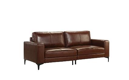 Amazon.com: Mid Century Modern Upholstered Leather Sofa, 80.3\
