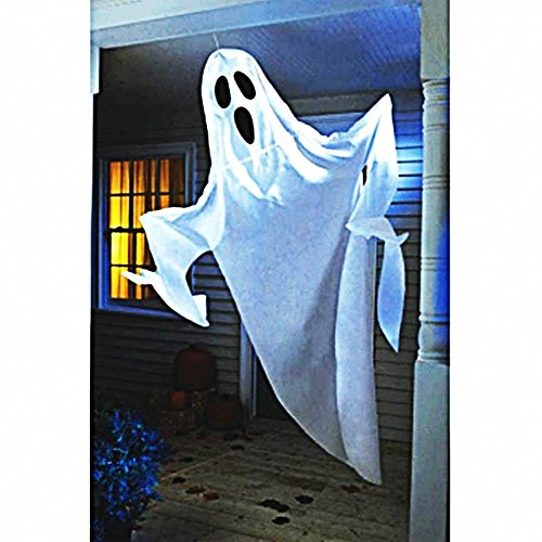 Amscan Creepy Cemetery Halloween Party Giant Ghost Decoration (1 Piece), White, 7'