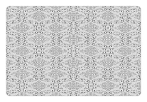 Ambesonne Grey Pet Mat for Food and Water, Victorian Antique Tile Pattern with Royal Curlicues Old Rich Scroll Regency Motifs, Rectangle Non-Slip Rubber Mat for Dogs and Cats, Grey Pale Grey ()