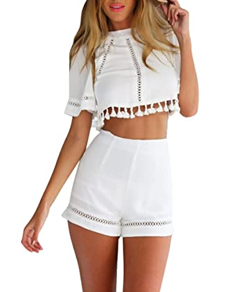 b81e3a49393ebe Women s 2 Piece Suit Casual Crop Top with High Waist Short Pants  White(Medium)