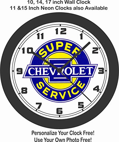 SUPER CHEVROLET SERVICE WALL CLOCK-FREE USA ()