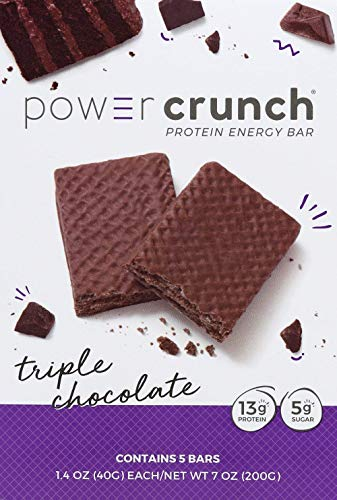 Power Crunch Whey Protein Bars, High Protein Snacks with Delicious Taste, Triple Chocolate, 1.4 Ounce (5 Count)