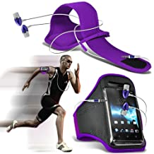 ONX3® ( Dark Purple + Earphone ) Alcatel idol 4 Case Protective Stylish Fitted Sports Armbands Running Bike Cycling Gym Jogging Ridding Arm Band Case Cover With Premium Quality in Ear Buds Stereo Hands Free Headphones Headset with Built in Microphone Mic and On-Off Button