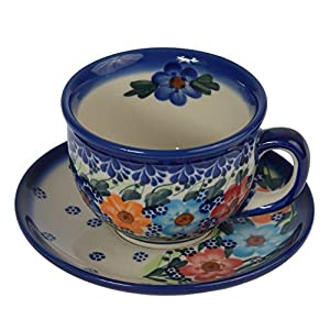 Traditional Polish Pottery, Handcrafted Ceramic Teacup and Saucer 210ml, Boleslawiec Style Pattern, F.101.Garland