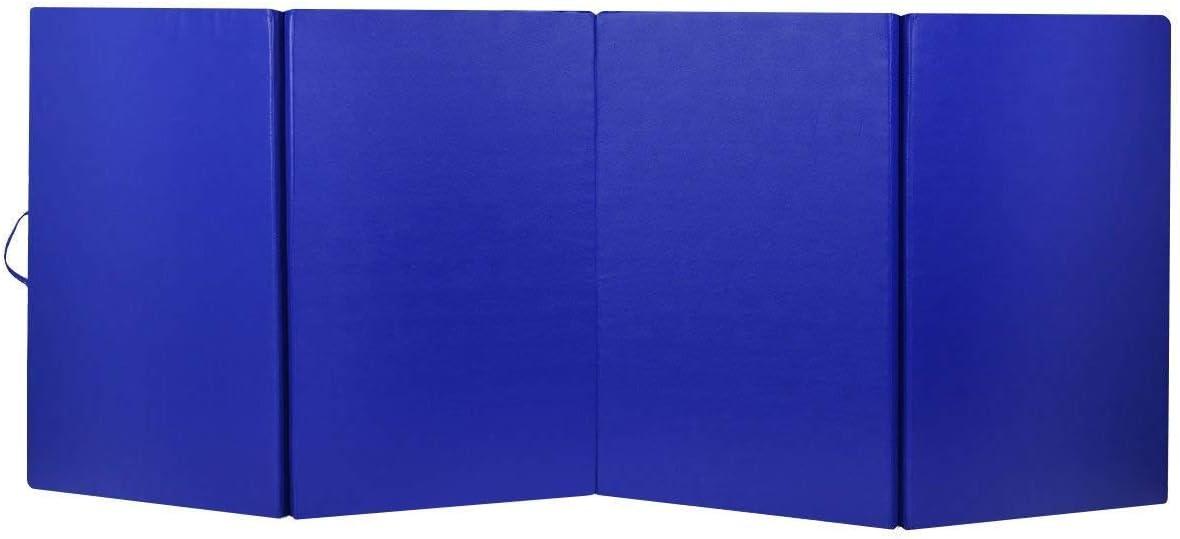 Gymax 体操マット 4フィートx10フィートx2 4つ折り厚マット 折りたたみパネル エアロビクス ヨガ 格闘技 ストレッチ コアワークアウト ダークブルー