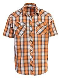 Studio 10 Mens Casual Western Plaid Checked Pearl Snap Short Sleeve Shirt