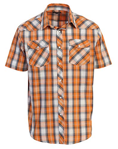 Gioberti Men's Plaid Western Shirt, Orange/Gray, Large