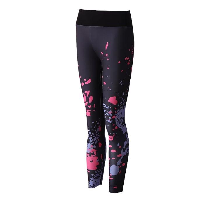 Homyl Pantalones Impresión Gimnasio Deporte Relajante Polainas Yoga Moderno Diseño Ropa Loungewear - Negro, S