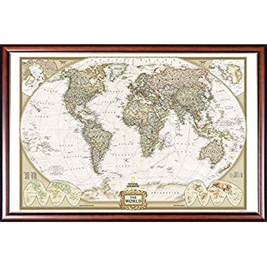 FRAMED National Geographic World Map Executive Style - with Push Pins - 24x36 Dry Mounted in Executive Series Walnut Wood Frame With Gold Lip - Crafted in USA
