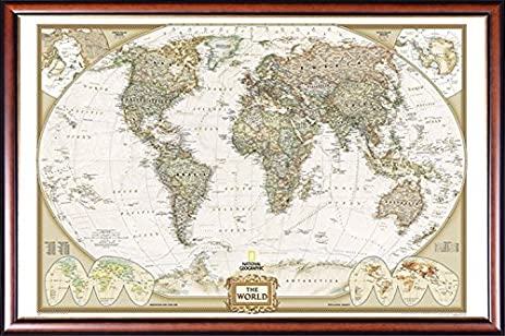 Amazon push pin map national geographic world map with walnut push pin map national geographic world map with walnut wood with gold lip gumiabroncs Image collections