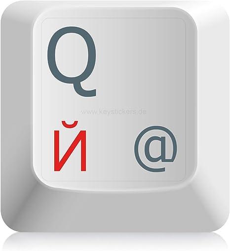 Keystickers® | Adhesivo ruso para teclados de PC / laptop y notebook 11x13mm, transparente con barniz protector mate, color ROJO | русские наклейки на ...