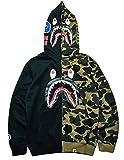 Big Mouth Shark Ape Bape Camo Mens Women Hoodies Sweatershirt Casual Zip Up Hip-Hop Funny Tops H-0black XXL