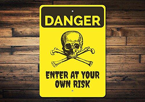 Danger Sign, Skull Sign, Crossbones Sign, Enter Own Risk Sign, Danger Enter Sign, Haunted House Decor, Skull Decor, Quality Metal 8