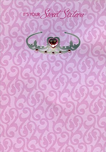 Amazon sweet sixteen pink heart gem on silver foil tiara 16th sweet sixteen pink heart gem on silver foil tiara 16th designer greetings birthday card m4hsunfo