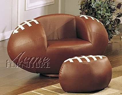 Delightful 2pc Kidu0027s Football Swivel Chair And Ottoman Set