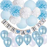 Baby Shower Decorations Kit-IT'S A BOY Banner Baby Blue mix White Pom Poms Flowers Paper Lanterns with Balloons Set for Welcome Baby Party Newborn Party Elephant Baby Shower Party Supplies