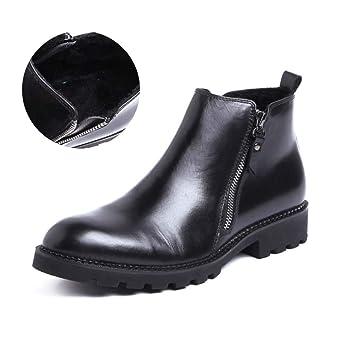 HYLFF Hombres Chelsea Botas, Invierno de Cuero Caliente Hebilla Botines Brock Vaquero Botas de Negocios de Alta Top Zapatos, Hombres Brogue Botines: ...