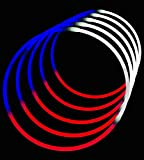 24'' Glowsticks Glow Stick Necklaces Tri-Color RED WHITE and BLUE (200 necklaces)