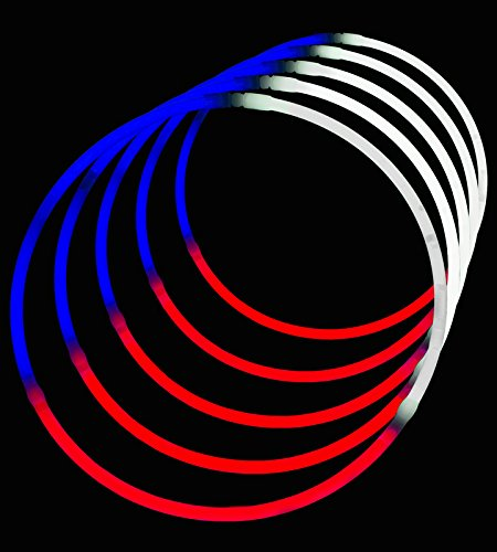 24'' Glowsticks Glow Stick Necklaces Tri-Color RED WHITE and BLUE (200 necklaces) by Lumistick (Image #3)
