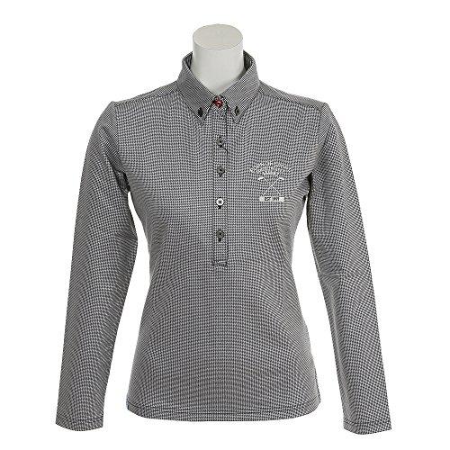 アディダス Adidas 長袖シャツ?ポロシャツ ADICROSS ハウンドトゥース 長袖ボタンダウンポロシャツ レディス ネイビー S