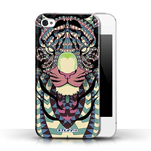 Hülle Case für Apple iPhone 4/4S / Tiger-Farbe Entwurf / Aztec Tier Muster Collection