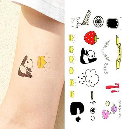Oottati Pequeño Lindo Tatuaje Temporal Panda Corona Fresa Nube (2 Hojas)