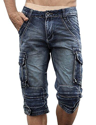 Con Blu Da Pantaloncini Di Cargo Jeans Cerniere Denim In Uomo Idopy ntvw58xdqv
