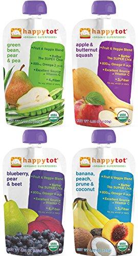 Superalimentos orgánicos Tot feliz etapa 4 paquete de variedad de 16
