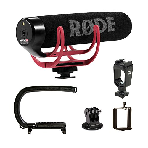 Cam Caddie Scorpion EX Camera Stabilizer Handle for Nikon, Canon,, Sony, iPhone, GoPro Hero 4, Hero 3+, Hero 3 and More - Black (0CC-0100-EX) + Rode VMGO Video Mic GO On-Camera Microphone Bundle (External Mic Rode)