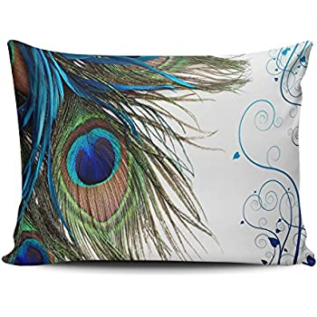 Amazon Com Keibike Pillow Case Peacock Feather Pattern