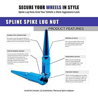 Wheel Accessories Parts Set of 24 Blue Spiked Solid Metal Lug Nuts M14x1.5 Thread 4.4 Inch Tall Closed End Bulge Acorn Spike Lug Nut 1 Long Socket Key: Automotive