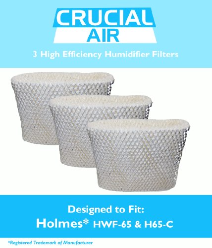 3 Holmes Humidifier Wick Filter, Fits Holmes HWF-65 & H65-C, by Think Crucial