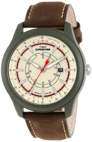 Timex Men's T49921 Expedition Camper Green Case Natural Dial Brown Leather Strap Watch
