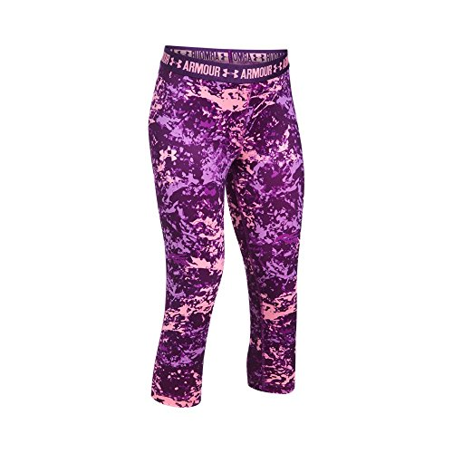 (Under Armour Girl's HeatGear Armour Printed Capris, Purple Rave (961)/Pop Pink, Youth Large)