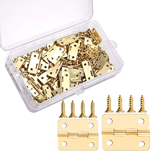 60 Pieces Mini Hinges Retro Door Hinges and 300 Pieces 7 mm Mini Hinge Screws with Storage Box, 2 Sizes - Hinge Gold Box