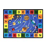 Joy Carpets Kid Essentials Geography & Environment Space Alphabet Rug, Multicolored, 5'4'' x 7'8''
