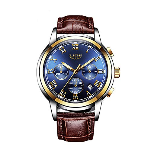Men Leather Strap Military Watches Men's Chronograph Waterproof Sport Wrist Date Quartz Wristwatch Gifts (blue)