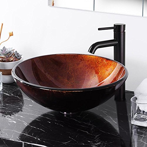 Aquaterior Modern Bathroom Round Artistic Tempered Glass Vessel Vanity Sink Bowl Basin Spa
