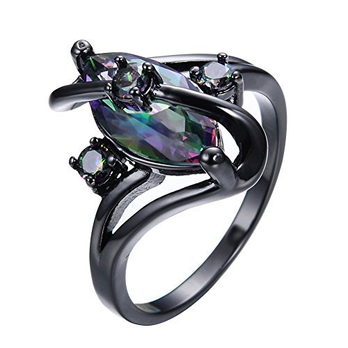 Adeser Jewelry Womens S Promise Wedding Rings Black Gold Plated Lab Gemstone Ring White Opal Ring
