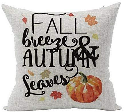 (Biekxrso Appy Fall Autumn Happy Thanksgiving Halloween New Room Sofa Car Decorative Cotton Linen Throw Pillow Case)