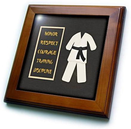 Framed Tile ft/_180798/_1 8 by 8-inch 3dRose 3D Rose Karate Karategi Uniform Black Belt Honor Respect Courage Train Discipline