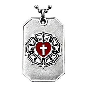 LUTHER ROSE CROSS LUTHERAN ART SYMBOL LUTHERANISM PENDANT DOG TAG CHAIN NECKLACE