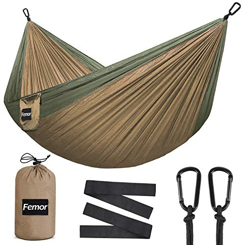 femor Camping Hammock, Lightweight Nylon Parachute Hammok with Tree Ropes and Carabiners, Double Hammock Swing - Support 441lbs for Yard Backpacking Hiking