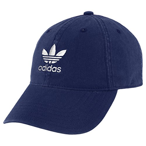 Youth Adjustable Hat - adidas Boys / Youth Originals Relaxed Adjustable Strapback Cap, Collegiate Navy/White, One Size