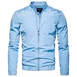 Muranba Men's Casual Solid Stand Collar Full Zip Watertight Jacket Coat
