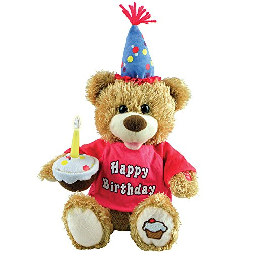 Johnson Smith Co. - Chantilly Lane Animated Singing & Dancing Lighted Cupcake Candle Birthday Bear 10 in Plush ()