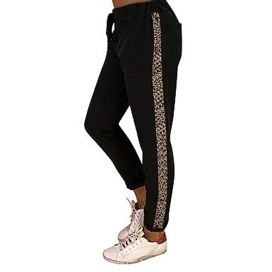 ad1b2fe2e919 Koly Sarouel Pantalon Fluide Femme Pantalon Ample à Imprimé léopard avec  Les Poches Taille Elastique Palazzo