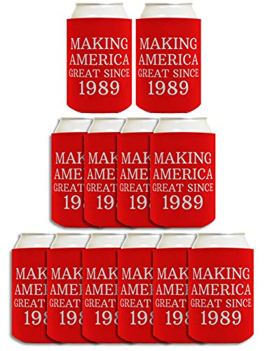 30th Birthday Gift Ideas Making America Great Since 1989 30th Birthday Decorations 30th Birthday Gifts for Men 12 Pack Can Coolie Drink Coolers Coolies Red ()