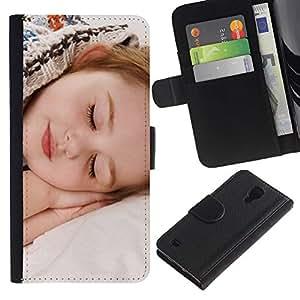 For SAMSUNG Galaxy S4 IV / i9500 / i9515 / i9505G / SGH-i337,S-type® Sleep Tired Baby Cute Small Kid - Dibujo PU billetera de cuero Funda Case Caso de la piel de la bolsa protectora