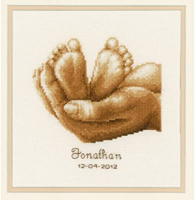 Vervaco Tiny Feet Birth Sampler Counted Cross Stitch Kit 18 Count Ecru Aida